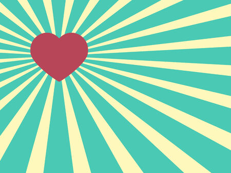 sunrays: Heart shape on a Sunrays Illustration with Valentine Illustration