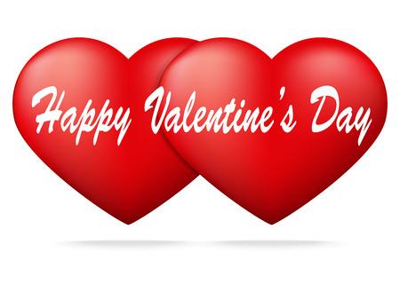 admirer: Red heart on white background ,Valentine Illustration