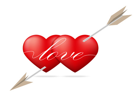 Red heart pierced by arrow with Valentine Vector
