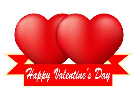 Red heart with ribbon on white background, Valentine