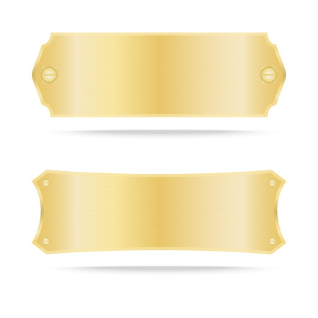 blank tag: Gold label metal or Metallic gold name plate .Vector illustration Illustration