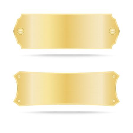 Goud label metaal of Metallic gouden naamplaatje .Vector illustratie