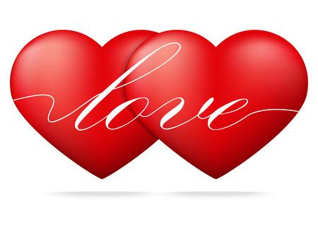 suitor: Cuore rosso su sfondo bianco, concetto San Valentino, illustrazione vettoriale Vettoriali