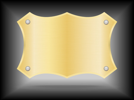 Metallic gold name plate or Gold label metal. Vector