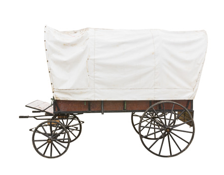 Covered wagon with white top isolated on white background photo