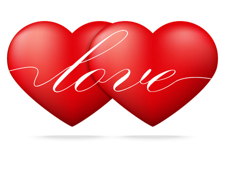 fondness: Red heart on white background ,Valentines Day concept,Vector illustration