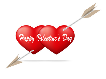 Red heart pierced by arrow with Valentines Day concept,Vector illustration