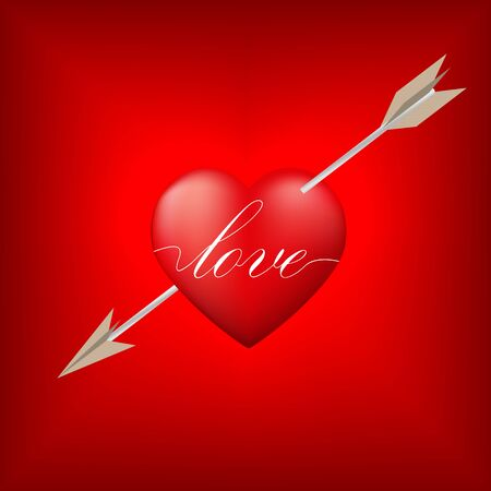 admirer: Red heart pierced by arrow with Valentines Day concept,Vector illustration