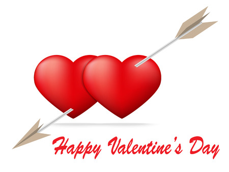 amore: Red heart pierced by arrow with Valentines Day concept,Vector illustration