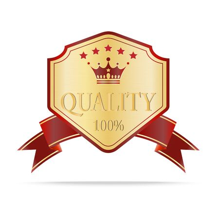 Luxury gold and red  quality shields label with ribbon.Vector illustration Vector