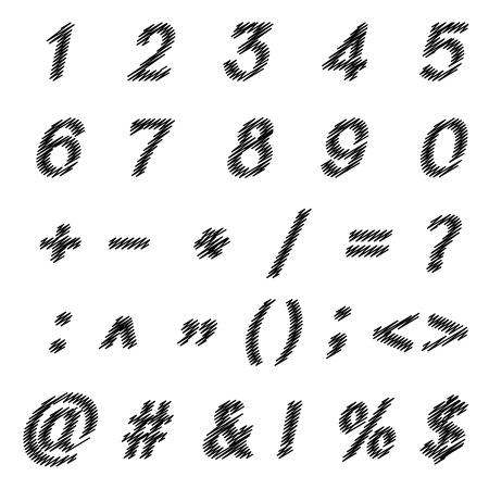 massive: Vector sketched black number and symbols    ,Brush stroke number, Vector illustration