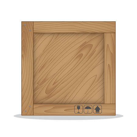 wooden box: Wooden box and fragile symbol on white background. Vector illustration
