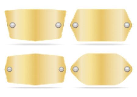 plate set: Gold label metal or Metallic gold name plate  set .Vector illustration