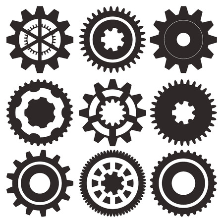 Cogwheel collection machine gear, set of gear wheels vector illustration Vector