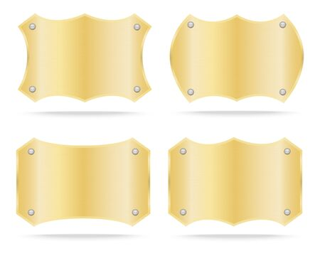 name plate: Gold label metal or Metallic gold name plate set .Vector illustration