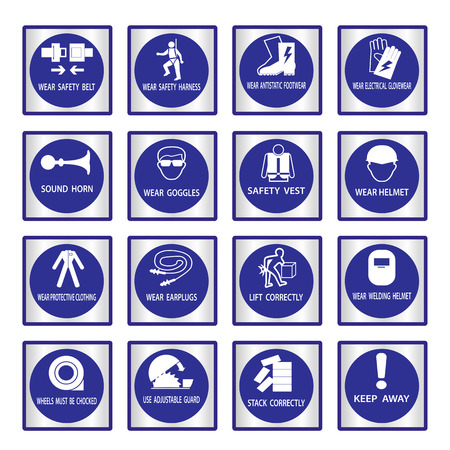 directives: Metal mandatory signs , Construction health and safety sign used in industrial applications,Vector illustration