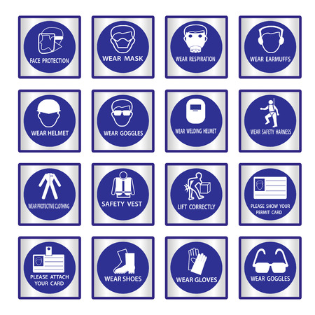 Metal mandatory signs , Construction health and safety sign used in industrial applications,Vector illustration Vector