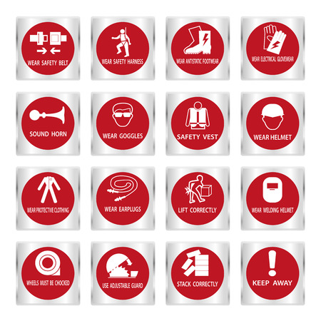 botton: Metal mandatory signs , Construction health and safety sign used in industrial applications,Vector illustration