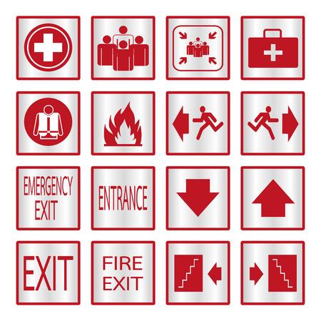 ladder safety: Metallic safety sign set