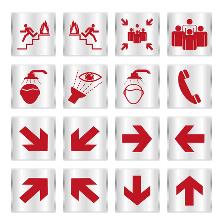 Metallic safety sign set Vector