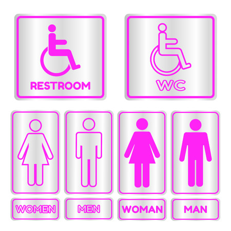 man and women wc sign: Pink square restroom  Sign set with text,Vector illustration