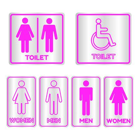 restroom sign: Pink square restroom  Sign set with text,Vector illustration