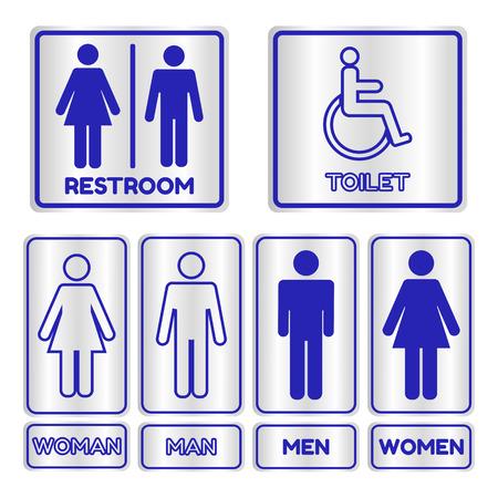 Blauw vierkant toilet teken set met tekst, Vector illustratie