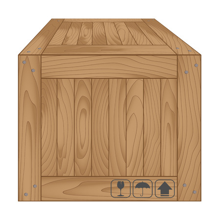 boxed: Vector illustration of brown wooden box on white,Vector illustration Illustration