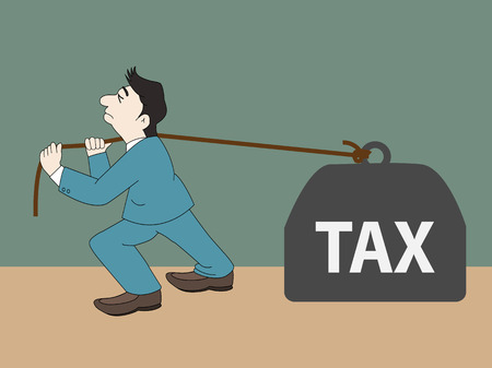 Businessman with pulling a heavy tax, Vector illustration
