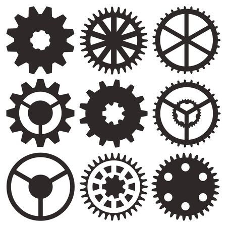 Cogwheel collection machine gear, set of gear wheels vector illustration Vector