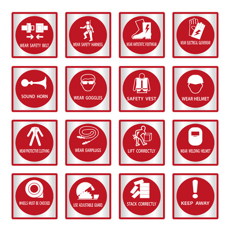 formalwear: Metal mandatory signs , Construction health and safety sign used in industrial applications,Vector illustration