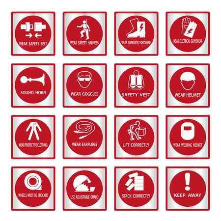 calzado de seguridad: Se�ales de obligatoriedad de Metal, Construcci�n y salud se�al de seguridad utilizado en aplicaciones industriales, ilustraci�n vectorial