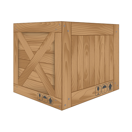 wooden box: Vector illustration of brown wooden box on white,Vector illustration Illustration