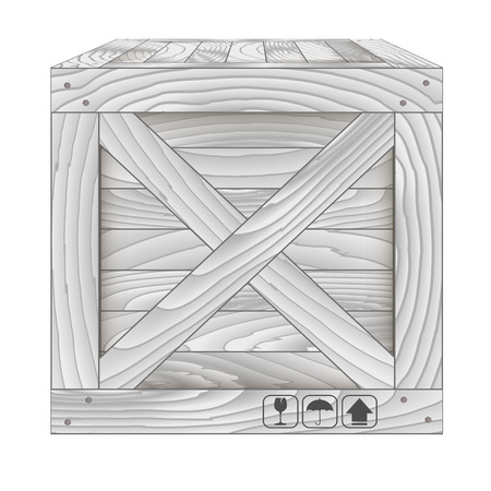 boxed: Vector illustration of gray wooden box on white,Vector illustration Illustration