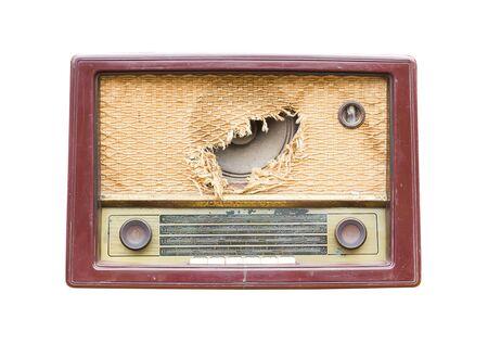 shortwave: Old vintage radio isolated on white