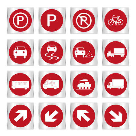 Illustration of Metallic set red transport and road signs Vector