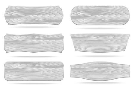 Set di 6 sagome bianche tavole cartello in legno. Vettoriali