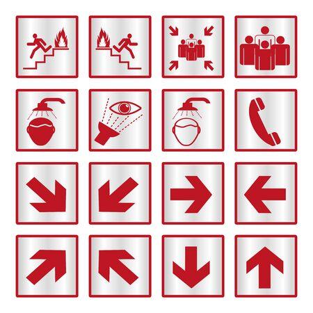 metallic: Metallic safety sign set
