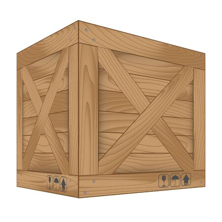 boxed: Vector illustration of brown wooden box on white,Vector illustration Stock Photo
