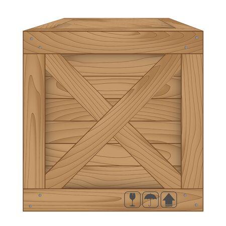 Vector illustration of brown wooden box on white,Vector illustration Stock Photo