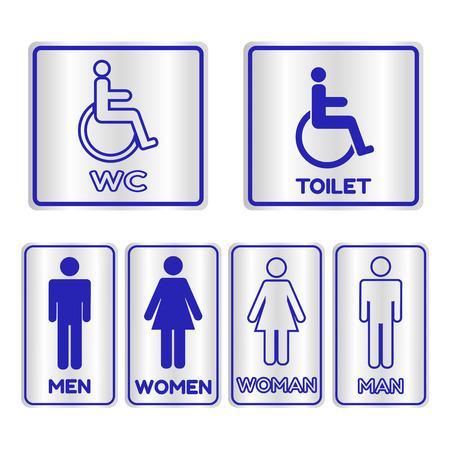 restroom sign: Blue square restroom  Sign set with text,Vector illustration