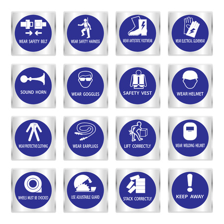 protect safety: Metal mandatory signs , Construction health and safety sign used in industrial applications,Vector illustration