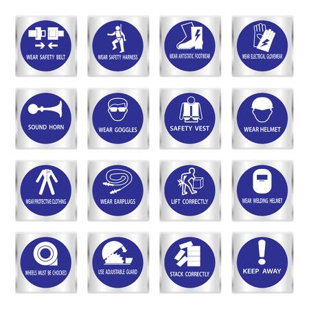 calzado de seguridad: Señales de obligatoriedad de Metal, Construcción y salud señal de seguridad utilizado en aplicaciones industriales, ilustración vectorial