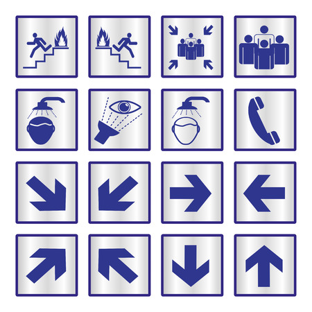assembly point: Metallic safety sign set