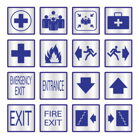 Metalic safety sign. Vector illustration emergency exit signs set Vector