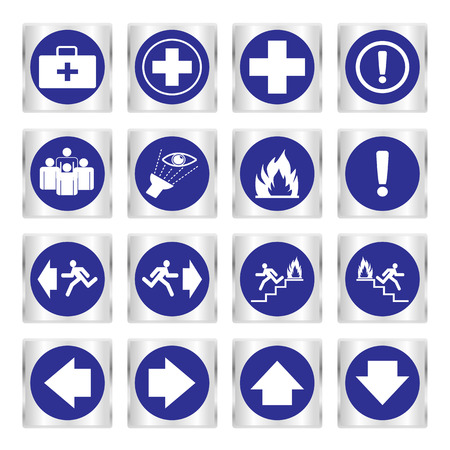 assembly point: Metallic safety sign. Vector illustration set of blue emergency exit signs