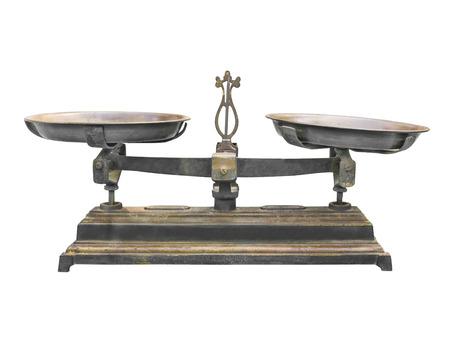 Oude schalen met kopjes op een witte achtergrond, Vintage evenwicht op wit wordt geïsoleerd Stockfoto - 40926259