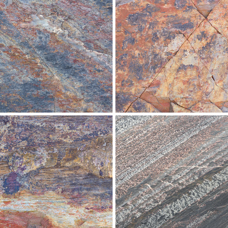 lithic: Set of textures different stone background collection Stock Photo
