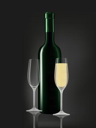 white wine glass: Wine bottle and white wine glass on black background. Vector illustration