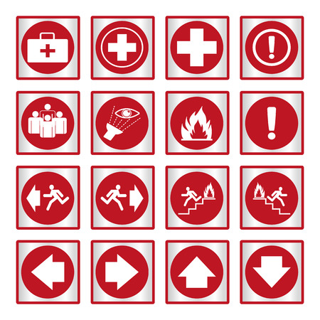 fire icon: Metallic safety sign. Vector illustration set of red emergency exit signs Illustration